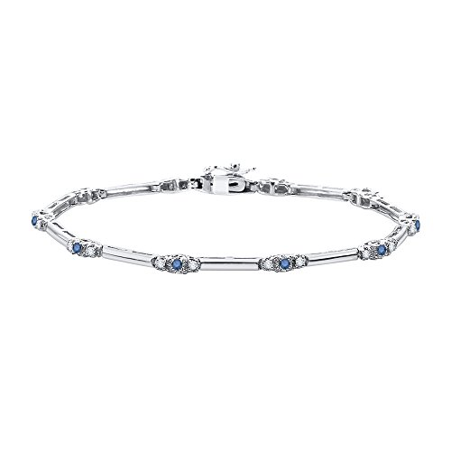 KATARINA Blue and White Diamond Tennis Bracelet in 10K Gold 1 2 cttw, J-K, I2-I3