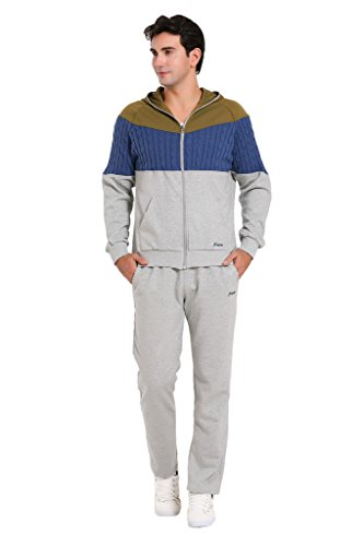 Miuk Men's Tracksuit Hooded Long Sleeves Knitting Patchwork Sportssuit