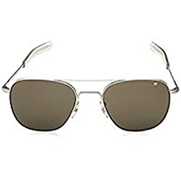 87aa6d827d Image Unavailable. AO Eyewear Original Pilot 55mm Silver Frame with Bayonet  Temples and Color Correct Gray Polarized Polycarbonate