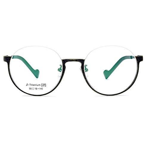 Plating Frame Titanium - Retro Personality Ultralight β Titanium Round Half Frame Glasses Frame IP Plating Optical Glasses Unisex