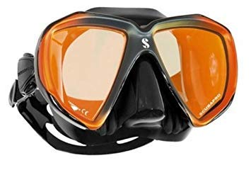 Dive Mask Gear Black Scuba - Scubapro Spectra Low Volume 2 Window Dive Mask (Black Bronze/Bronze Mirrored Lens)