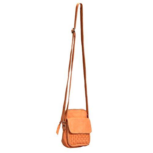 Vilenca Holland designer taschen Umhängetasche kleine Ledertasche damen aus echtem leder - 26cm x 19cm x 9cm (b xh x d) / Farbe- Orange / Model No:40684 - ideal als Geschenk