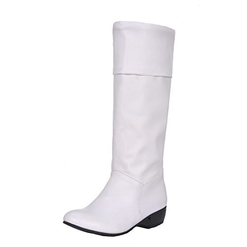AgooLar Damen Rein Niedriger Absatz Rund Zehe Ziehen auf Stiefel, Weiß, 42
