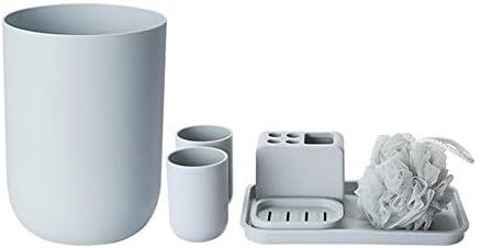 FXin クリエイティブポリプロピレンバスルームウォッシュセット7個セットゴミ箱収納ボックスバスボール-2色オプション シャワー室 (Color : Gray)