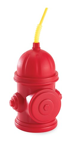 Fireman Fire Truck Childrens Birthday Party Supplies - Red Fire Hydrant Plastic Sippy Cup with Straw (4) (Fire Hydrant Cups)