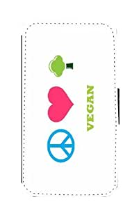 Rikki KnightTM Peace Love Vegan Galaxy S3 i9300 PU Leather Wallet Type Flip Case with Magnetic Flap and Wristlet for Samsung Galaxy S3