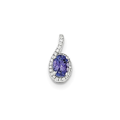 ICE CARATS 14k White Gold Oval Blue Tanzanite Halo Diamond Pendant Charm Necklace Slide Chain Fine Jewelry Gift Set For Women Heart