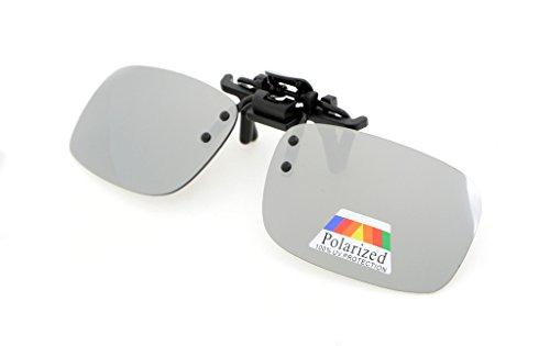 lentes metal sol gafas Polarized Plata Gafas con 53x33 Flip Eyekepper Clip de up Pack clip 2pcs de MM de 2 fWnaU06I6q