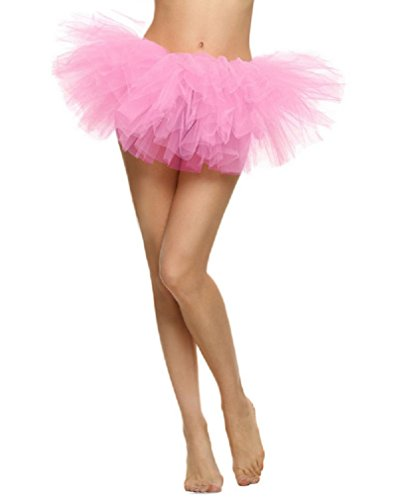 Pink Tulle Layered Tutu (Women Solid Color Classic 5 Layered Fluffy Party Costume Short Tulle Tutu Dress)