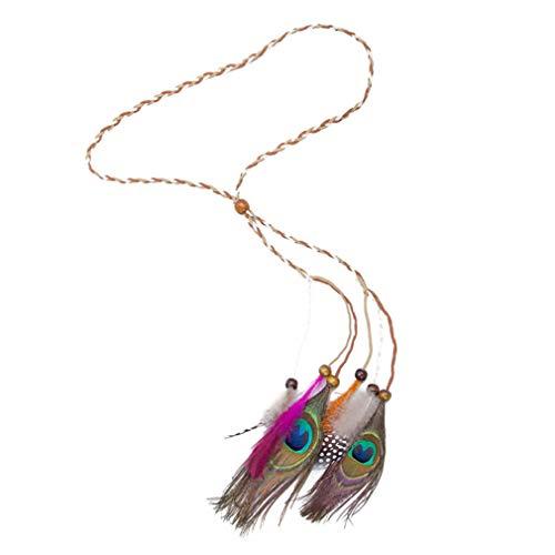 (DARLING HER Bezel Bohemia Peacock Feather Headband Beads Hair Rope Carnival Festival Headdress Festival Party Headbands khaki rope)