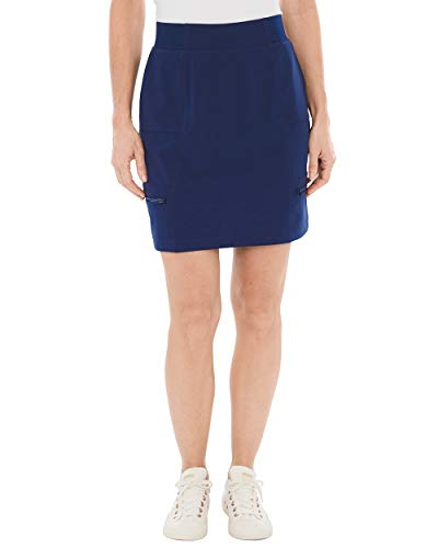 Skort Jean Skirt (Chico's Women's Zenergy Neema Knit-Waist Skort Size 6 S (0.5) Blue)