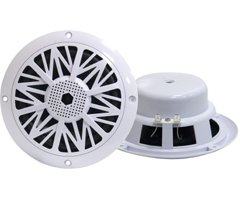 6.5 Inch Dual Marine Speakers - 2 Way Waterproof and Weather Resistant Outdoor Audio Stereo Sound System with 200 Watt Power, Poly Carbon Cone and Butyl Rubber Surround - 1 Pair - PLMR62 (White)