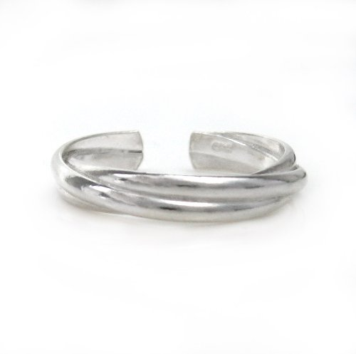 Sterling Silver Overlapping Bands Adjustable Toe Ring T125