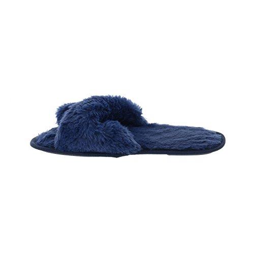 Glaube UK Damen Grau Crossover Indoor Navy Schuhe Warme Luxus Herbst 4 7 Hausschuhe Rosa Open 5 8 Kunstpelz Sohle Schwarz Navy Harte Rutschfeste Womens 6 In Toe 3 dqRnxx5