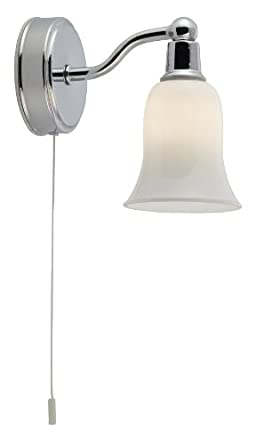 Searchlight Single Bathroom Wall Light Chrome with Opal Glass