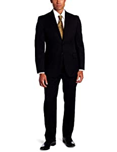 B007PR3ABM Joseph Abboud Men's 2 Button Side Vent Stripe Suit With Flat Front Pant, Black, 44 Medium/Regular
