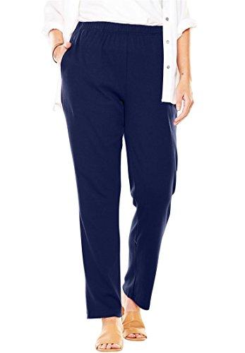 Women's Plus Size 7-Day Knit Petite Straight Leg Pant (Elastic Waist Petite Knit Pants)