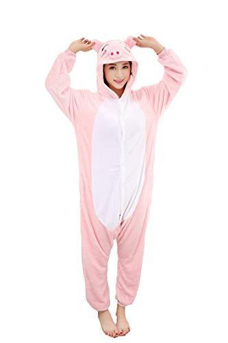 HengTian Unisex Adult Cosplay Animal Pajamas Pink Pig Onesie Sleepwear Set ()