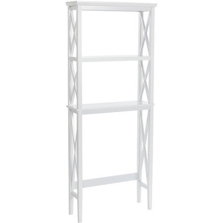 X-Frame Over-the-Toilet Spacesaver, White, Contemporary Design, Made of Wood Composite Material and Solid Pine wood, Features 2 Shelves, Assembly Required by GAShop