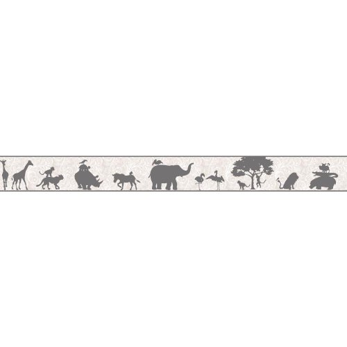 York Wallcoverings YS9269BDSMP Peek-A-Boo Safari with Scroll 8-Inch x 10-Inch Memo Sample Wallpaper-Borders, Oyster Gray/Pale - Wallpaper Safari Border