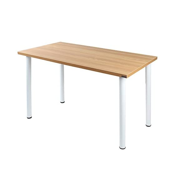 Need 47 inches Modern Computer Desk Home Office Desk Teens Desk Multi Purpose Table,Teak White AC1BW-120 - 【Overall Size】: L47 x W23.7 x H29.5 inch, weighs about 35lbs, provides large working space. 【Firm Material】: E1 solid partical wood with high resistance on scratch & friction. 【High Stability】: 1.2 mm thick metal frame, which is 1.3 times thicker than ordinary 0.8mm ones, better stablize the desk more than usual with heavy weights. - writing-desks, living-room-furniture, living-room - 31WXd9dxvZL. SS570  -