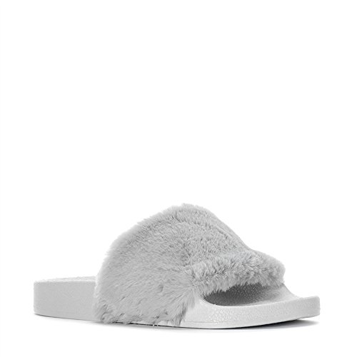On Faux Rubber Grey Flop Open Slip Soles Sandals Furry Platform D J Women Fur Toe Fuzzy Flip f66Swq