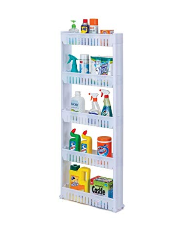 Slide Out Storage Tower with Wheels - Great Organizer for Pantry, Laundry or Any Room in Your Home (5 Tiers)