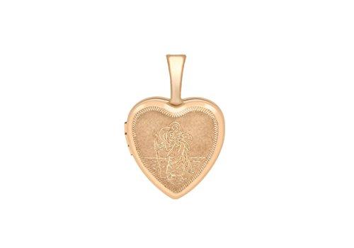 Or Rose 9ct médaillon Petit Coeur Gravé St Christophe