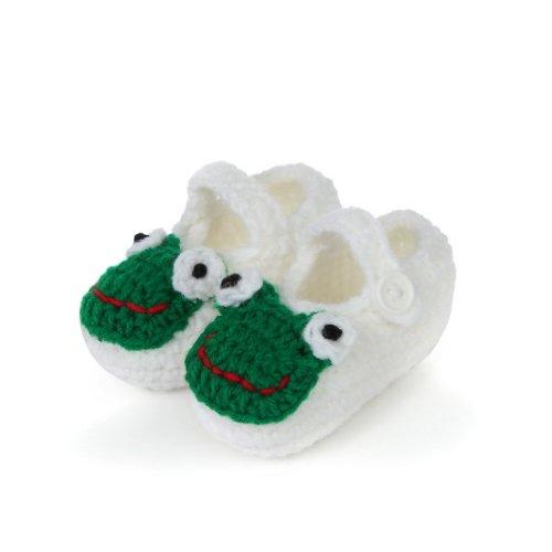 Smile YKK Baby Krabbelschuhe Gestrickte Schuhe flauschige Länge 11 cm Panda Blau Frosch Weiss A