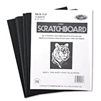 Scratch Art Black Coated Scratchboards de 8 1/2 pulg. X 11 pulg. Paquete de 10