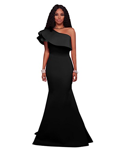 MEI&S La mujer hombro oblicuo Prom elegante vestido Maxi Larga Noche vestido de fiesta Black
