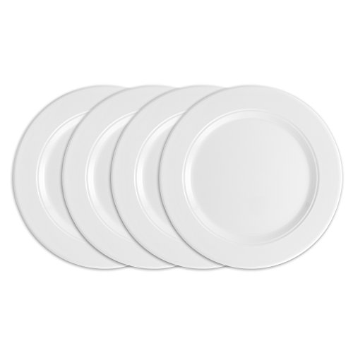 Custom Porcelain Plate (Q Squared Diamond Round Dinner Plate, 10-1/2-inches, Set of 4, White)