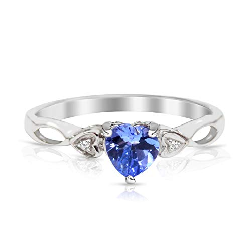 5mm Heart Tanzanite with Diamond Engagement Ring in 14kt Gold over Sterling Silver