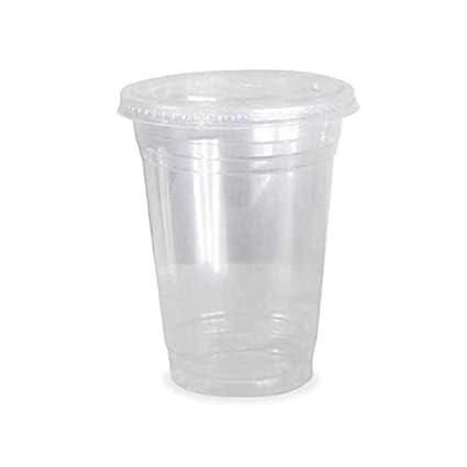 Thali Outlet® - Tazas de plástico transparente para batidos de 340 ml + tapas planas