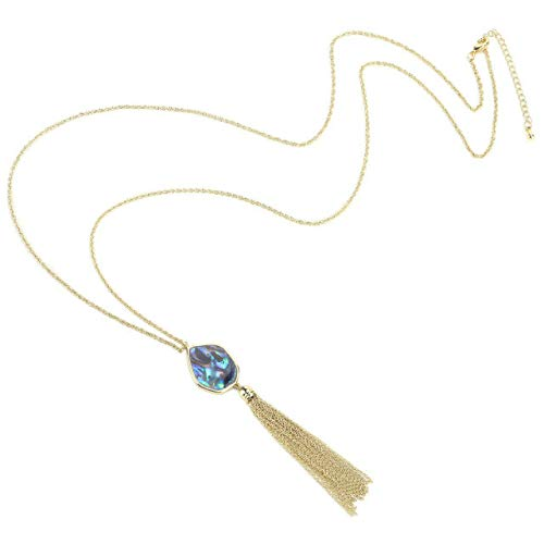 Gift for Valentines Day Mothers Day BOUTIQUELOVIN 14K Gold Long Chain Tassel Necklaces-Designer Inspired Abalone Shell Gemstone Pendant Jewelry