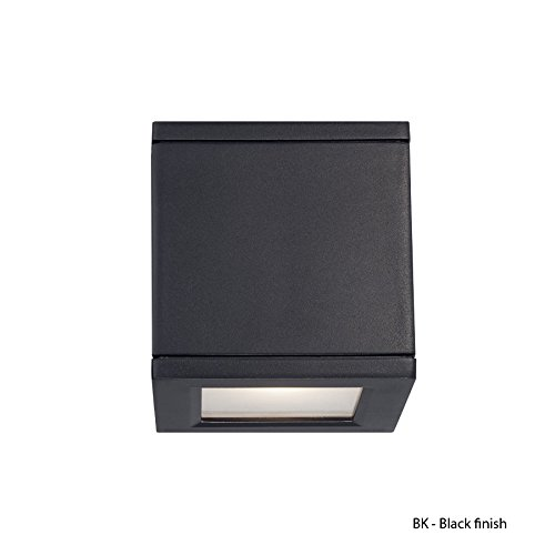 Square One Light Wall - WAC Lighting WS-W2505-BK Rubix LED Outdoor Up and Down Wall Light Fixture, One Size, White/Black