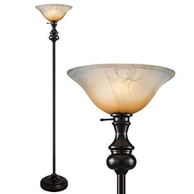 Oneach Modern Torchiere Floor Lamp 150-Watt Light with Frosted Glass Shade for Reading Living Room and Bedroom