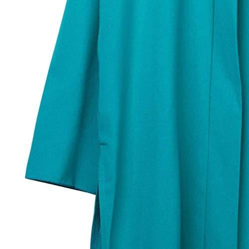 Tempo Libero Lunga Grün Monocromo Trench Outwear Modern Color Base Autunno Size Manica Stile marca Cappotto Mode di Fessura M Moda Cardigan Donna Baggy Lunga Lato Elegante qWnTFFgf