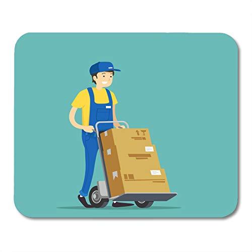 (Boszina Mouse Pads White Cap Black Box Porter Carries Blue Man Cargo Mouse Pad for notebooks,Desktop Computers mats 9.5