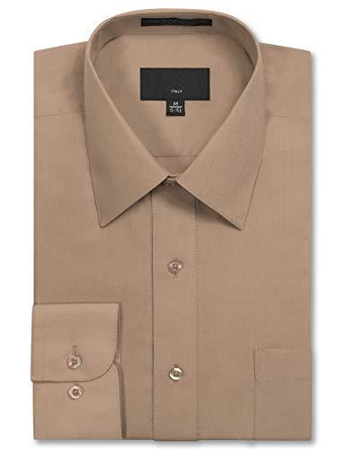 JD Apparel Mens Long Sleeve Regular Fit Solid Dress Shirt 15-15.5 N 32-33 S Khaki,Medium