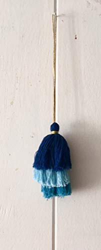 Colorful boho tassel strands blue