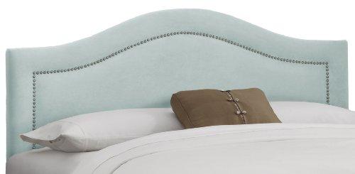 Skyline Furniture Inset Nail Button King Headboard in Velvet Pool - Upholstered Headboard Velvet Pool