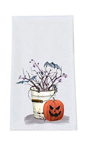 Bats and Pumpkin Halloween Kitchen Tea Towel, Bath Hand Towel, Kitchen Decor, Hostess Gift Dish Towel