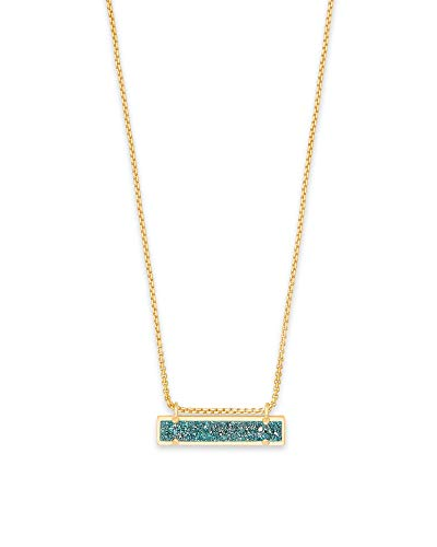 Gold Rectangular Pendant - Kendra Scott Leanor Aqua Drusy Stone Gold Rectangular Pendant Necklace