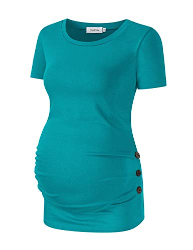 Coolmee Maternity Shirt Side Button and Ruched Maternity Tunic Tops Maternity Short Sleeve T-Shirts (XL,Emerald) - Maternity Womens Shirt