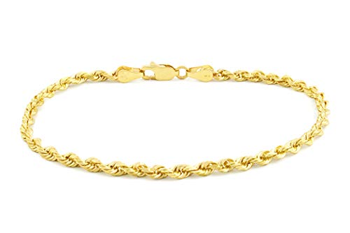 """14k Yellow Gold Solid 3mm Diamond Cut Rope Chain Bracelet, 7""""-9"""" from Nuragold"""