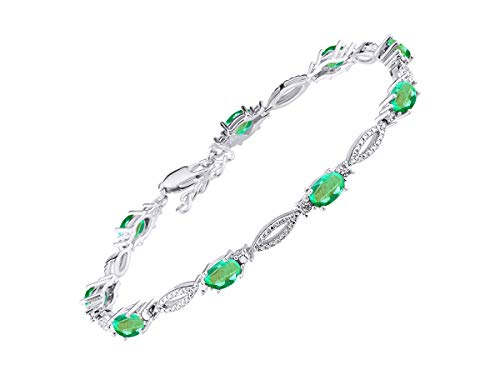 Stunning Emerald & Diamond Tennis Bracelet Set in Sterling Silver - Adjustable to fit 7