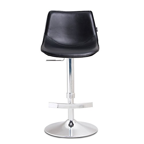 Zuri Furniture Modern Adjustable Leatherette Domino Bar Stool with Chrome Base- Black