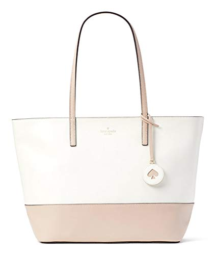 Kate Spade Tanya Leather Tote Bag Purse Handbag for Work School Office Travel (Beige/White) from Kate Spade New York