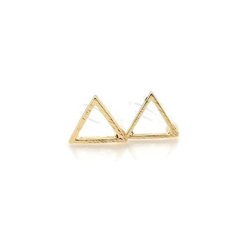 Open Triangle Stud Invisible Clip On Earrings 9mm Brushed Gold-Tone